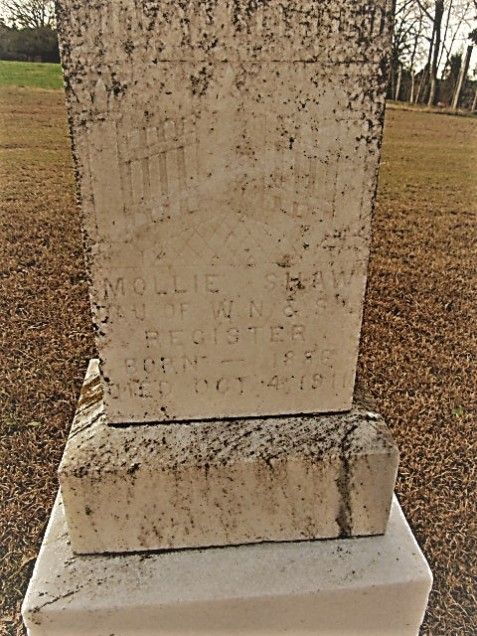 Grave of Mollie Register Shaw (1886-1911), Pleasant Cemetery, near Ray City, GA. Image source: Cat