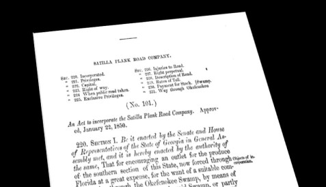 An Act to Incorporate the Satilla Plank Road Company