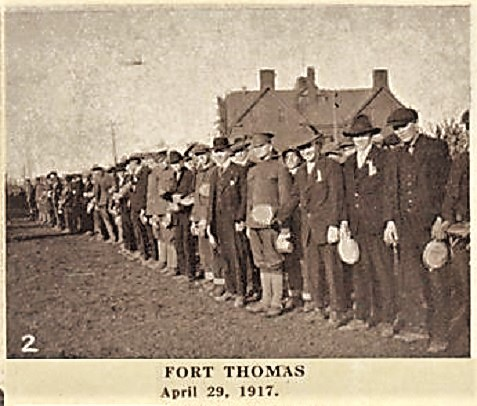 New recruits at Fort Thomas, KY, April 29, 1917