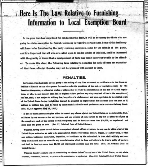 Penalties for giving false testimony to Exemption Boards were published in local newspapers.