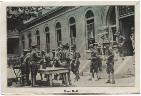WWI soldiers at Fort Thomas, KY mess hall circa 1917. Gilliam Collection, Eva G. Farris Special Collections, W. Frank Steely Library, Northern Kentucky University.