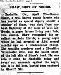 1919 Tifton Gazette reports Bruner Shaw shot by John Harris