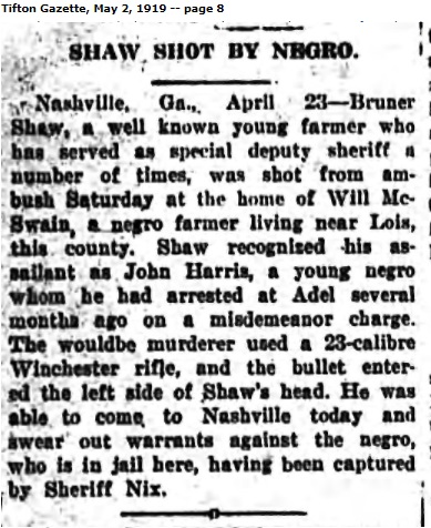 1919 Tifton Gazette reports Bruner Shaw shot by John Harris