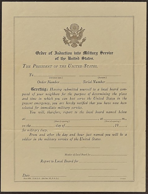 WWI Order of Induction P. M. G. O. Form 1028
