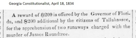 April 18, 1834, reward offered for the murder of James Rountree