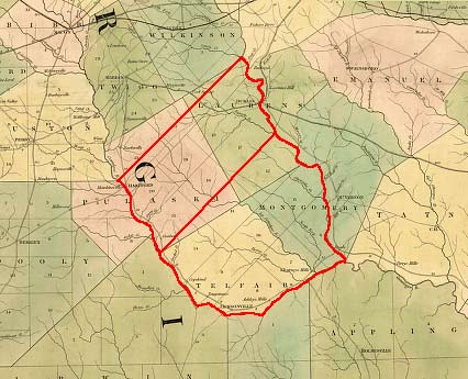 This map shows Laurens County (upper) and Telfair County (lower) outlined in red to show the original boundaries specified in the Dec. 10, 1807 act creating both counties. http://georgiainfo.galileo.usg.edu/histcountymaps/telfair1807map.htm