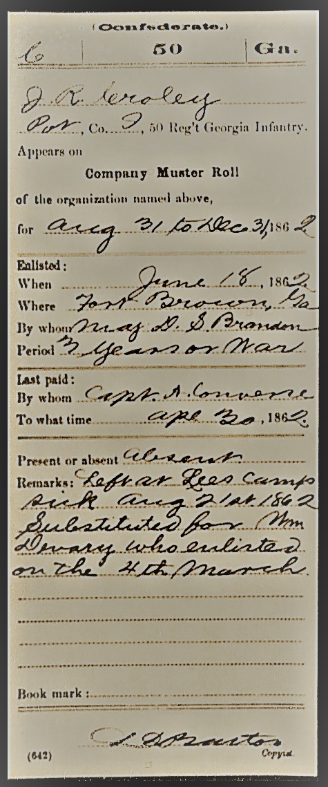 Confederate service record of John R. Croley, substitute for William DeVane.
