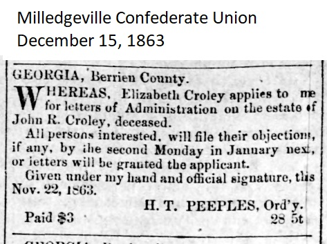 William Giddens administered the estate of John R. Croley in Berrien County, GA