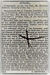 Obituary of Sarah Jane Peeples, from the Milledgeville Southern Recorder, July 21, 1863