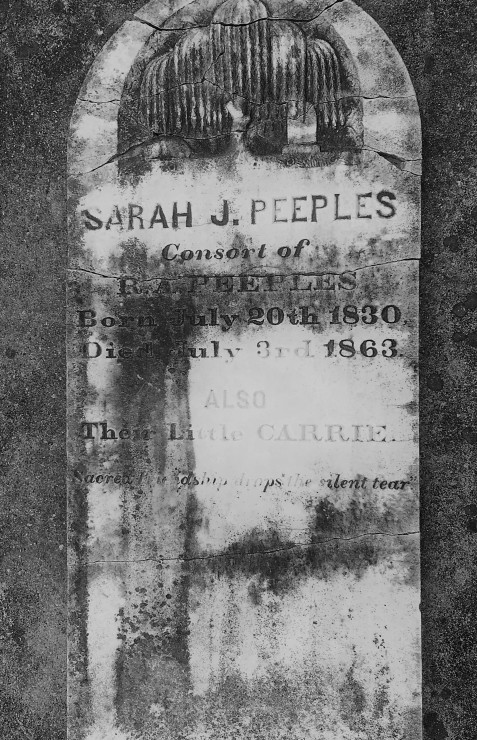 "Grave of Sarah Jane Camp Peeples and her daughter Caroline ""Carrie"" Peeples, Sunset Hill Cemetery, Valdosta, GA. Image source: PhillW"