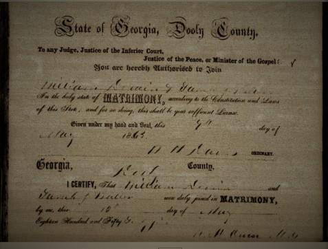 Marriage Certificate of William DeVane and Sallie Butler, Dooley County, GA