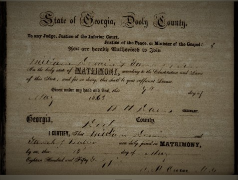 Marriage Certificate of William DeVane and Sallie Butler, Dooley County, GA