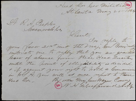 Richard Augustus Peeples, Civil War Letter