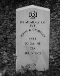 Centograph of John R. Croley (Crawley), Keel Cemetery, Valdosta, GA. Croley was mortally wounded at Gettysburg, PA while serving as a substitute for William DeVane. Image source: Karen Camp.