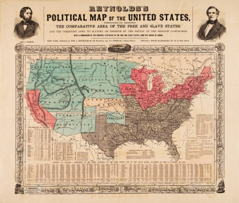 Reynolds's Political Map of the United States Designed to Exhibit the Comparative Area of the Free and Slave States and the Territory open to Slavery or Freedom by the Repeal of the Missouri Compromise with a Comparison of the Principal Statistics of the Free and Slave States, from the Census of 1850
