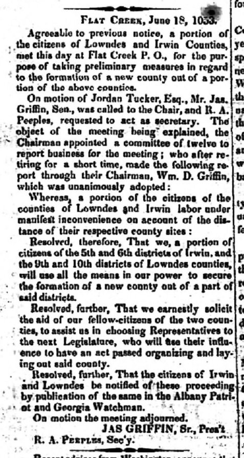 Richard A. Peeples worked on creation of Berrien County, GA. Albany Patriot, July 1, 1853