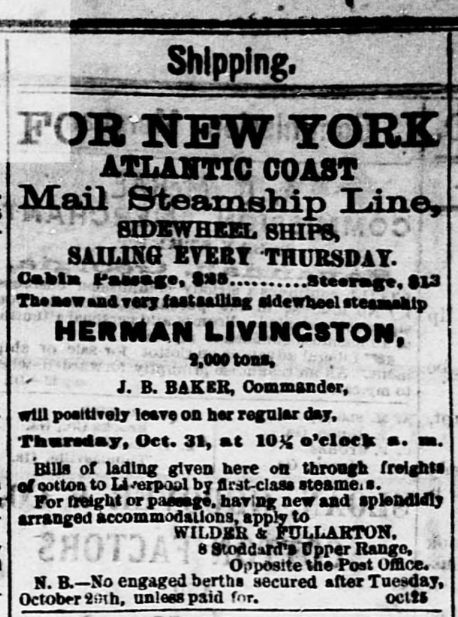 Advertisement for the steamship Herman Livingston, departing from Savannah, GA