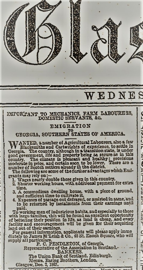 December 4, 1867 advertisement in the Glasgow Herald placed by Major Philip Coleman Pendleton, agent for the Lowndes Immigration Society.