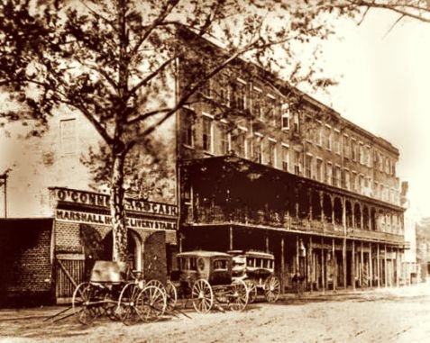 Marshall House, Savannah, GA, circa 1867. Philip Coleman Pendleton stayed here October 18, 1867 enroute to Scotland seeking immigrants to work Lowndes County, GA cotton plantations.