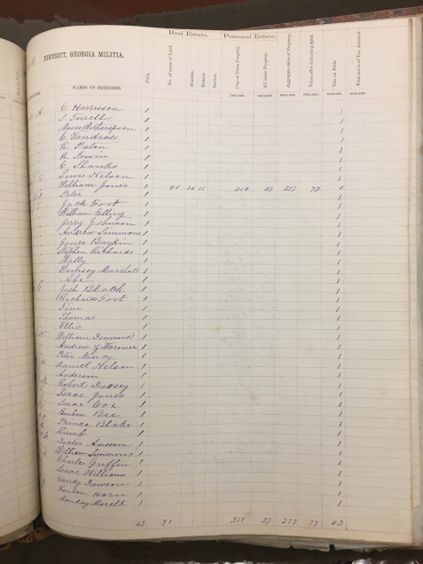 Freedmen of Lowndes County, GA Militia District 662, 1870 Tax Digest