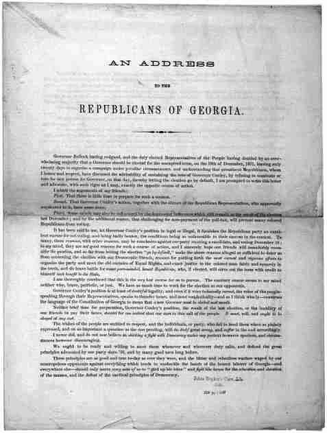 An address to the Republicans of Georgia .... Joseph W. Clift. Continental Hotel, Washington, D. C. Washington. Retrieved from the Library of Congress, https://www.loc.gov/item/rbpe.20602100/