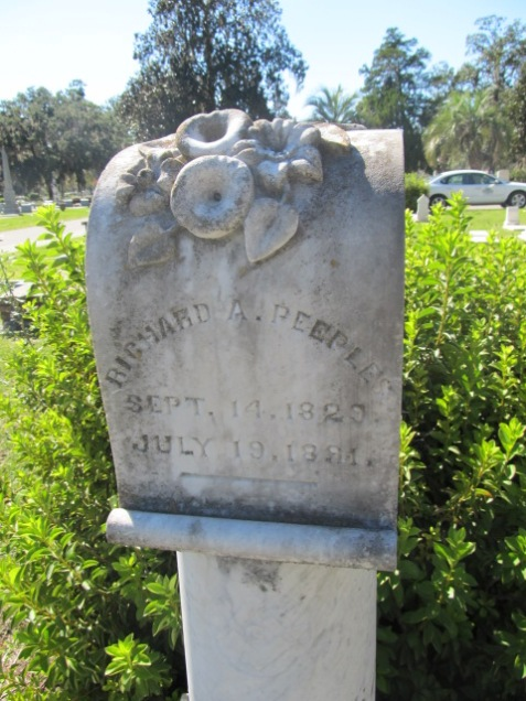 Grave of Richard A Peeples, Sunset Cemetery, Valdosta, GA. Image source: Cat.