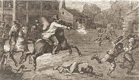 """Thomas Nast sketch from a montage on Reconstruction violence entitled """"Southern Justice,"""" Harpers Weekly, March 23, 1867"""