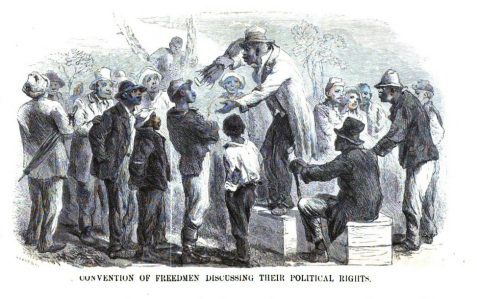 Illustration of Freedmen in Georgia, 1866. The South: A Tour of Its Battlefields and Ruined Cities, a Journey Through the Desolated States, and Talks with the People