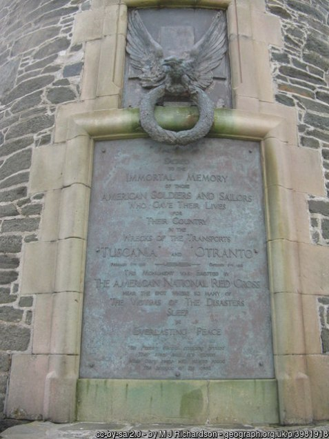 Upper Plaque on the American Monument at the Mull of Oa, Islay, Scotland
