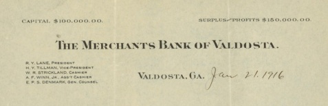 Merchants Bank of Valdosta, 1916 letterhead