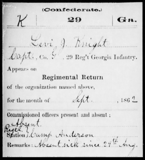 Regimental return for September 1862 showing Levi J. Knight, Jr. absent from post at Camp Anderson.