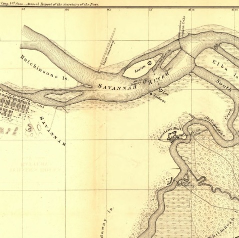 1864 map showing relative positions of Savannah, Battery Lawton, Fort Jackson, Fort Lee, Causton's Bluff, Oatland Island and Whitemarsh Island.