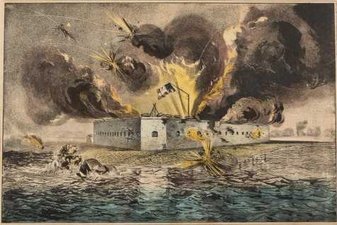 Bombardment of Fort Pulaski. Currier & Ives.