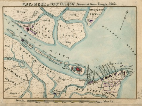 "A Federal map created December 31, 1861 showing the relative positions of the USS Montezuma (labeled ""Hulk Scow"" on Lazaretto Creek, Wilmington Island, Federal batteries on Tybee Island, and Fort Pulaski. To the west of Wilmington Islands are Whitemarsh Island, Oatland Island and Causton's Bluff [not shown]."