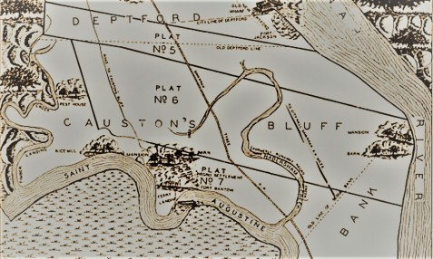 Map of Causton's Bluff Plantation showing location of rice mill, mansion, negro settlement, ferry landing, and Fort Barton (name given to Causton's Bluff Battery in 1863)