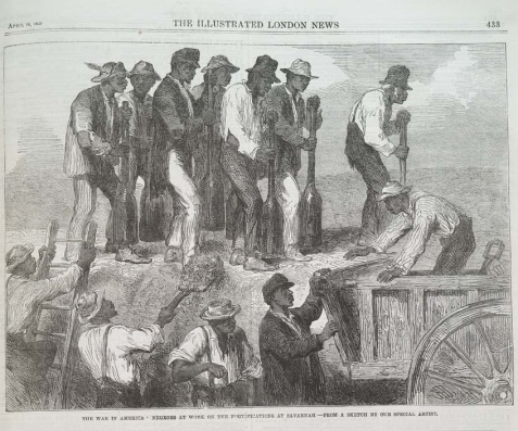 The War in America: Negroes at Work on the Fortifications at Savannah.--From a Sketch by Our Special Artist.; Illustrated London News. vol.42, no.1199, p. 433. April 18, 1863