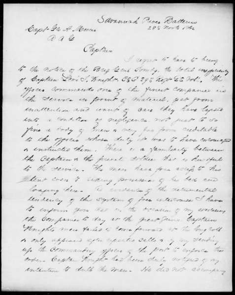 Letter page 1 of 2 of Col. Edward C. Anderson, Nov 28, 1862 censoring Captain Levi J. Knight, Jr.,