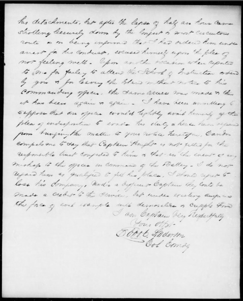 Letter page 2 of 2 of Col. Edward C. Anderson, Nov 28, 1862 censoring Captain Levi J. Knight, Jr.