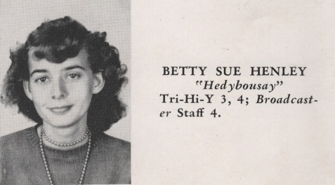Betty Sue Henley, Class of 1949, Nashville High School, Berrien County, GA