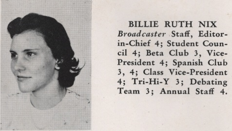 Billie Ruth Nix, Class of 1949, Nashville High School, Berrien County, GA