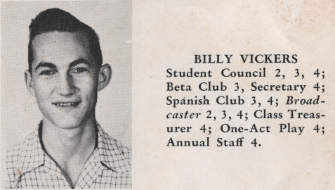 Billy Vickers, Class of 1949, Nashville High School, Berrien County, GA