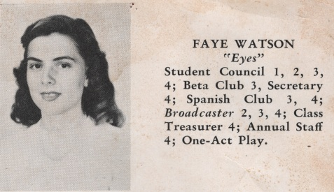Faye Watson, Class of 1949, Nashville High School, Berrien County, GA