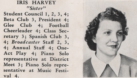 Iris Harvey, Class of 1949, Nashville High School, Berrien County, GA