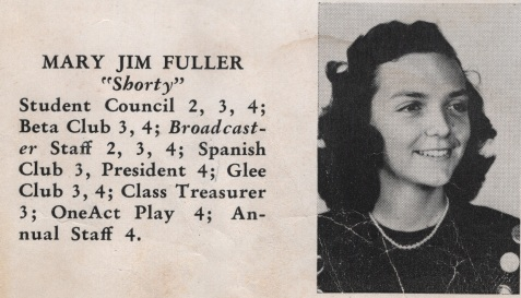 Mary Jim Fuller, Class of 1949, Nashville High School, Berrien County, GA