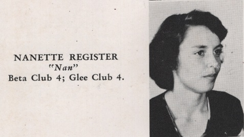 Nanette Register, Class of 1949, Nashville High School, Berrien County, GA