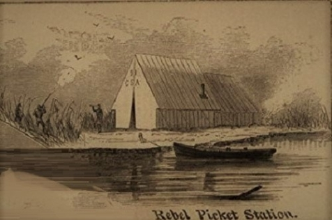 Confederate Picket Station.  The Berrien Minute Men, and the 29th Georgia Regiment were stationed at the post on Causton's Bluff  and did picket duty on Whitemarsh Island and at Caper's Battery.