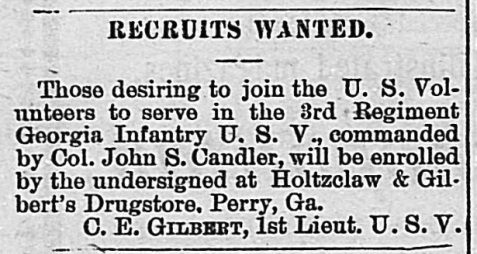 Want ad dated July 12, 1898 advertising for recruits for the 3rd Georgia Regiment US Volunteers