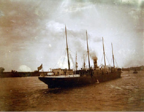 The Third Georgia Regiment sailed for Cuba aboard the steamer Roumanian, which had been acquired by the US Army Quartermaster's Department in 1898. In March, 1899, the Roumanian was renamed US Army Transport Crook, photographed here clearing Savannah in June, 1899.