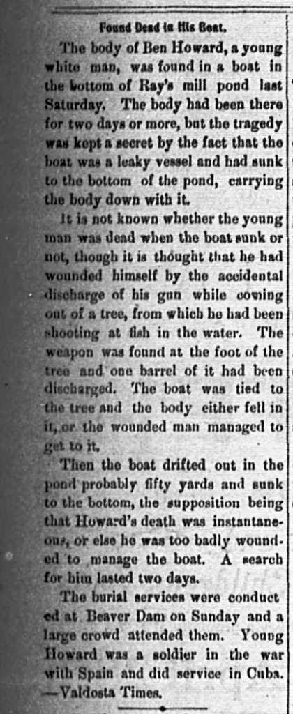 Tifton Gazette, April 27, 1900 clipping of the death of Ben Howard at Ray's Mill Pond.