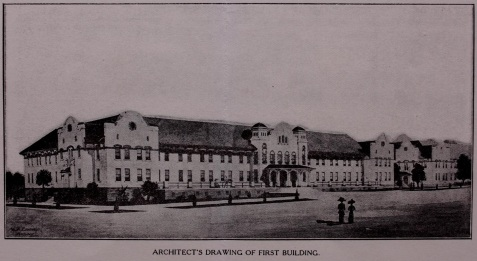 Architectural rendering of the first building to be built on the campus of the South Georgia State Normal College, Valdosta, GA
